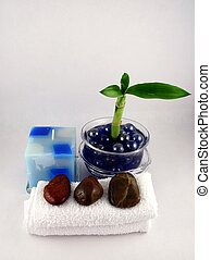 Bamboo Plant - A bamboo plant, a blue candle, facecloths and...