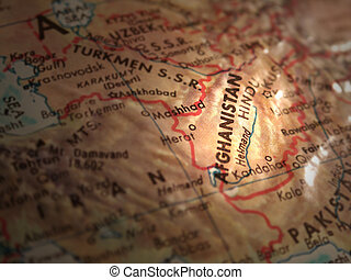 Afghanistan - Selective focus and lighting of Afghanistan on...