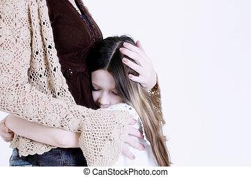 niño, Abrazar, mamá