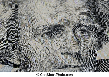Twenty Dollar Bill - Closeup of Andrew Jackson on Twenty...