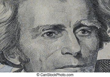 Twenty Dollar Bill - Closeup of Andrew Jackson on Twenty...