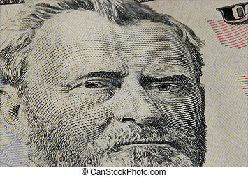 Fifty Dollar Bill - Closeup of Ulysses S. Grant on Fifty...