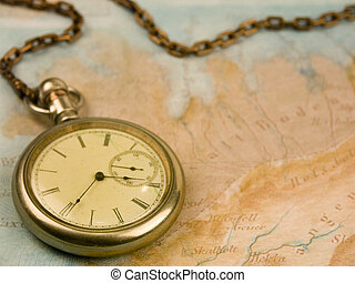 Time for Travel - Antique Watch and Old Map