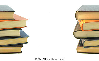 Books - Stacks of books on white background