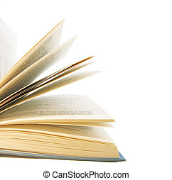Book pages turning isolated on white background