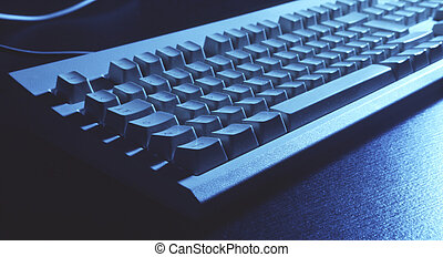 keyboard in blue - keyboard in a strength blue-cyan, wide...