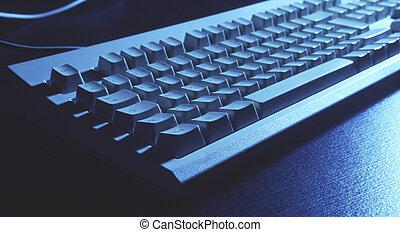 keyboard in blue - keyboard in a strength blue-cyan, wide...