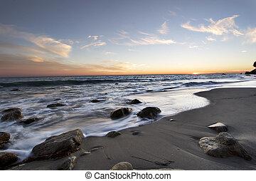 Malibu Sunset with wisps of clouds