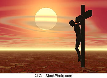 Crucifixion - A crucifixion with a sunset