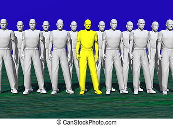 Stand out - Standing out from the crowd.Contrasting.Being...