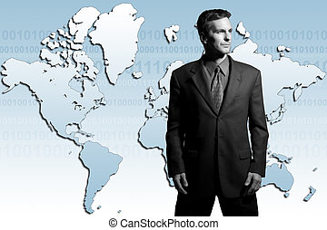 Global businessman - Businessman standing in front of world...