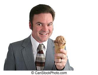 Man With Ice Cream 1 - A businessman holding an ice cream...