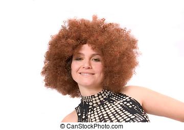 redhaired, belleza, Afro, peluca