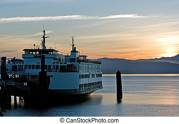 Ferry in sunrise