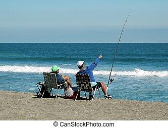 oleaje, pescadores