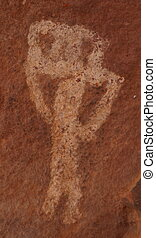 The Flute Player - Palatki pictograph in the Coconino...