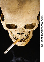 Smoking Kills - A human skull smoking Top View