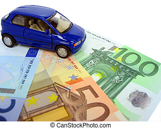 Car expenses - Blue car over euro notes isolated