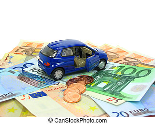 Car expenses - Blue car over euro notes and coins isolated