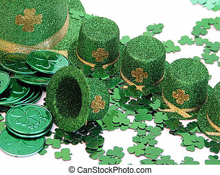 St Patricks Day - Shot of a few green top hats with a...