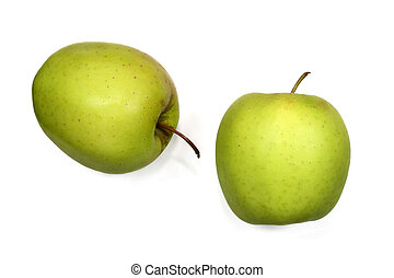 Delicious - Two golden delicious apples against a white...
