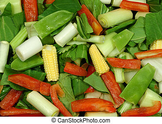 Healthy Eatiing - Selection of raw vegetables  for stir fry.
