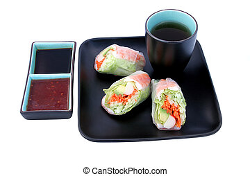 Japanese Salad Roll & Sauces
