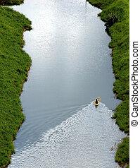 kayaking the hanalei - tandem kayak making it\\\'s way up...
