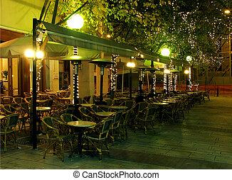Illuminated cafe - Illuminated evening cafe