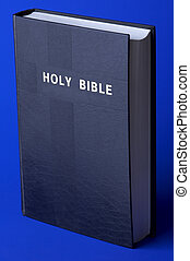 Holy Bible on the blue background