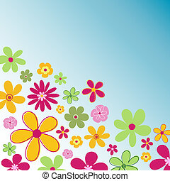 Retro flowers - Retro styled flower background