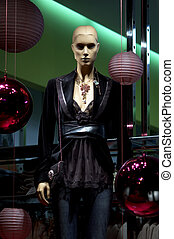 mannequin in the evening sexy dress - mannequin in the...
