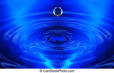 Water drop about to hit the surface