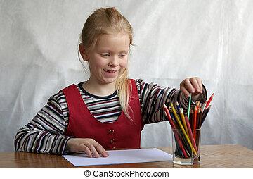 Beginning - A little girl taking a crayon