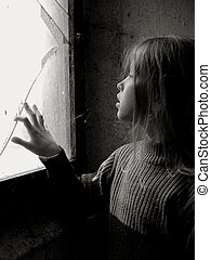 Broken - A little girl standing near the broken window Black...