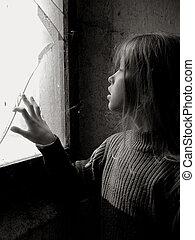 Broken... - A little girl standing near the broken window....