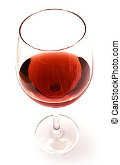 Glass of Red Wine - Glass of red wine against white...