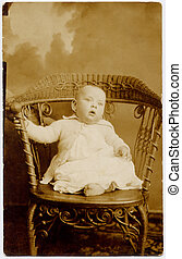 1900\\\'s Baby Boy Port - Vintage portrait of baby boy in...