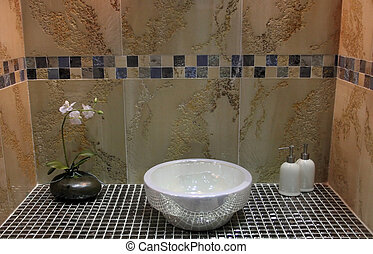 Bathroom - home interiors - Sink and flower in a luxury...