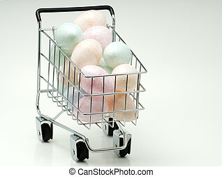 Easter Eggs - Shopping Cart With Easter Eggs