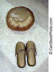 Slippers - Gold slippers and cushion