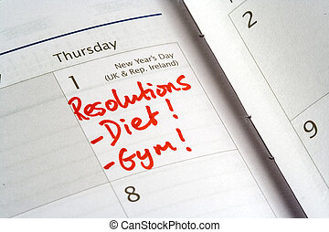 New Years Resolutions - diary showing new years day and list...