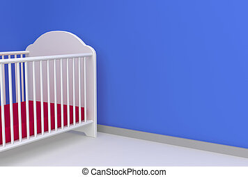 boy nursery - nursery 3d render with space for message