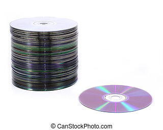 cd pile - isolated pile of cds and dvds vs. one disc
