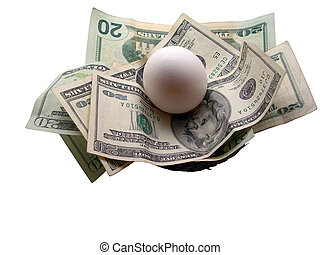 Nest Egg - White egg laid on twenty dollar bills inside a...