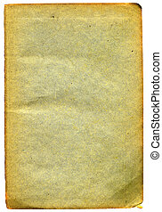 Old textured paper with tattered edge. On white