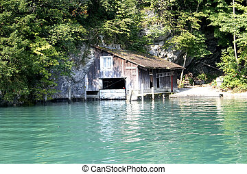 Boathouse - Digital photo of a boatshouse in switzerland.