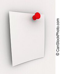 Sticky Note - Red Pi - 3D rendered Illustration. Blank...
