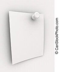 Pinned Note - 3D rendered Illustration. Blank pinned note.