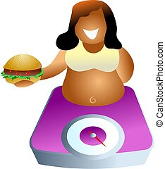 weighing scales - diet and nutrition - icon people series